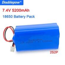 Double pow 100% الأصلي 18650 بطارية ليثيوم 7.4 فولت 5200 مللي أمبير بطارية قابلة للشحن حزمة مكبر الصوت لوح حماية