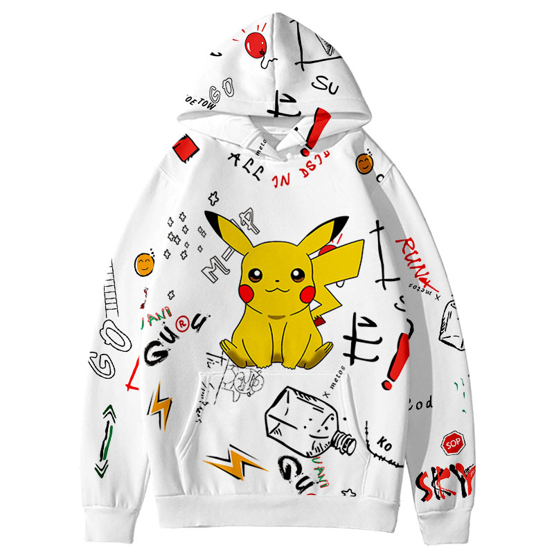 Anime Hoodie Men Women Hip Hop Pikachu Oversized Hoodies Sweatshirts Custom 3D Poke Mon Hooded Pullover Harajuku Streetwear Full