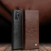 Business Genuine Leather Case for Samsung Galaxy Note 10 Plus Case Wallet Card Slot Cover For Samsung Note 10 Plus 5G Shell