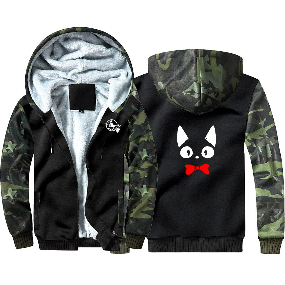 New Kiki's Delivery Service Camouflage Hoodie Sweatshirts Winter Thicken Hooded Coat Cosplay Warm Men Clothing