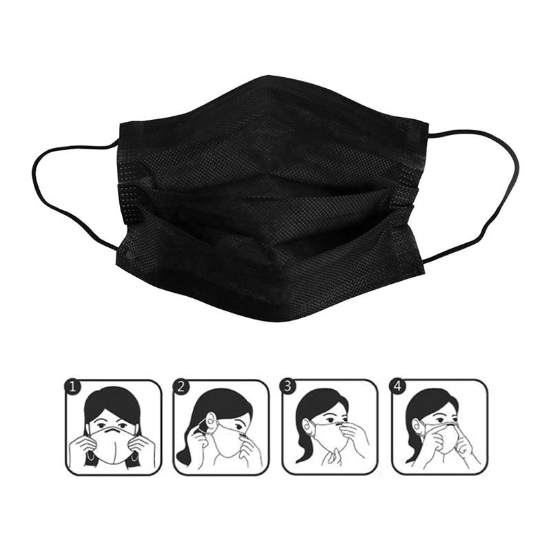Взрослая унисекс Защитная ткань Пылезащитная маска Одиночная индивидуально одноразовая маска Анти-загрязняющая маска черная