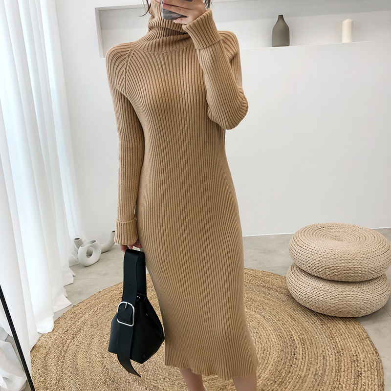 Turtleneck Sweater Dress Women Winter Long Sleeve Ribbed Midi Bodycon Dress Slit Back Ladies Casual Thick Warm Knitted Dresses