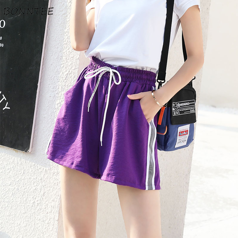 Shorts Women Sports Short Summer Leisure Chic Elastic Run Soft Womens Loose Students All-match Ulzzang Breathable High Wide Leg