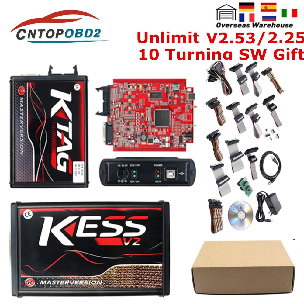 KESS V2 V5 017 EU Red Kess V2 53 ECU Chip Tuning Tool KTAG V2 25 V7 020 Online Master ECM Titanium ECU Programmer LED BDM Frame