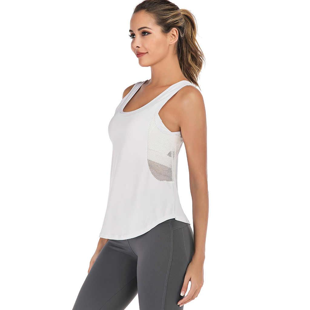 Zhangyunuo Side Mesh Yoga Top Dames Sport T-shirt Fitness Crop Tops Gym Oefening Mouwloos Vest Training Kleding Voor Vrouwen