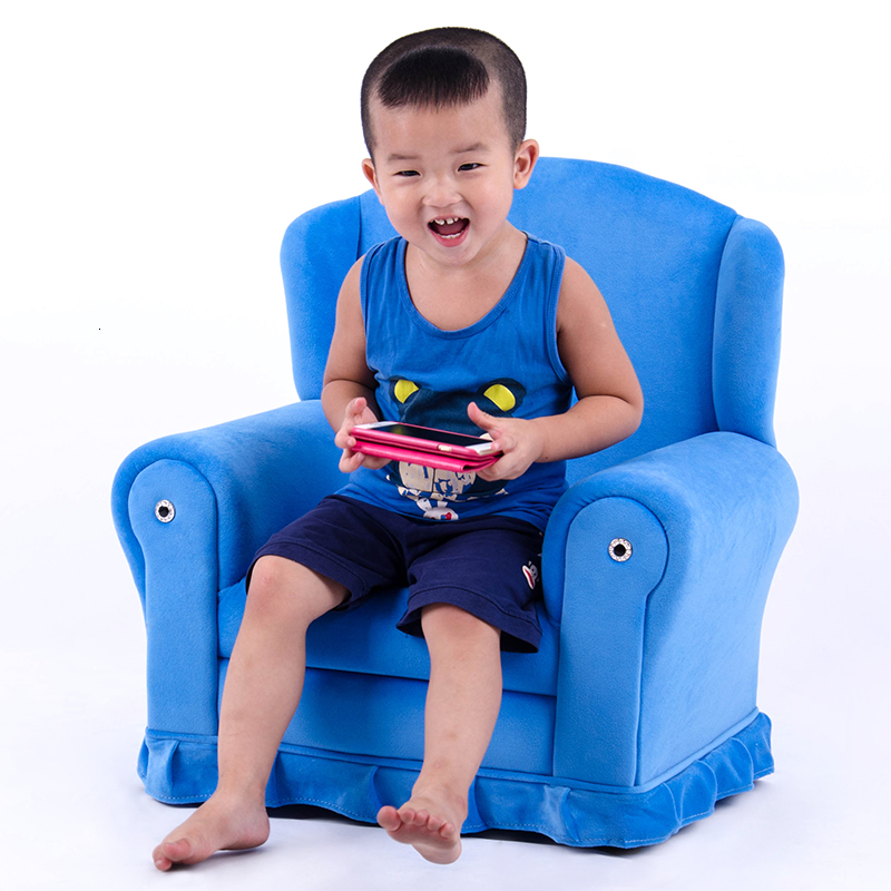 Blue Fabric Art Mini Children Sofa Lovely Lazy People Baby Small Sofa Kids Bedroom Comfortable Bean Bag Zitzak Baby Furniture
