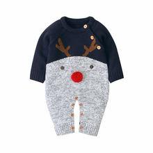 Рождественская одежда для малышей; Новинка; Зимний вязаный детский