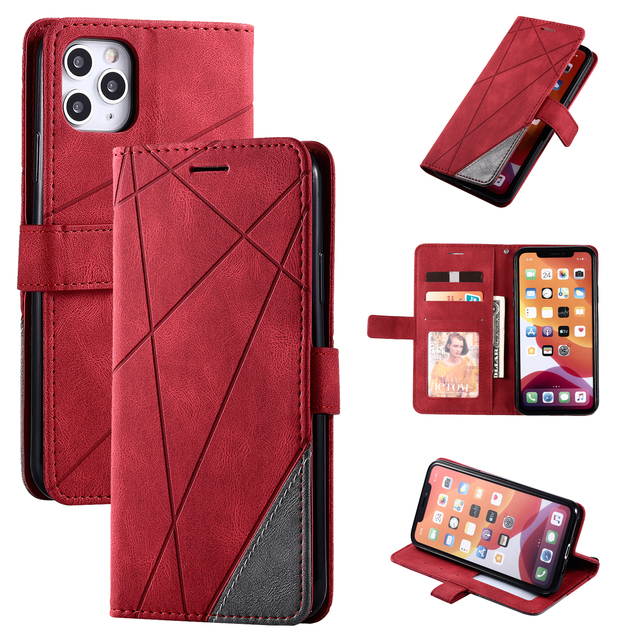 Stand Business Phone Holster For Etui Xiaomi 11 Poco X3 Nfc M3 Redmi Note 10 Pro 7 7A 8 8A 8T 9 Stripe Wallet Rhombus Case D21G 1