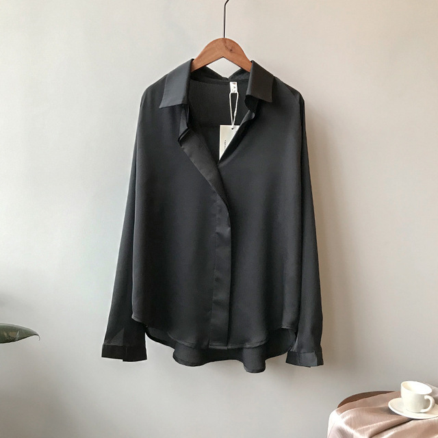 2021 Spring Women Fashion Long Sleeves Satin Blouse Vintage Femme V Neck Street Shirts Elegant Imitation Silk Blouse 5273 50 3