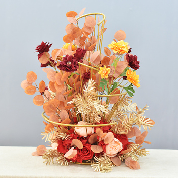 Wedding Props Spiral Wrought Iron Fan-shaped Flower Stand Hotel Wedding Table Flower Decoration Road Lead with Rose Silk Flower