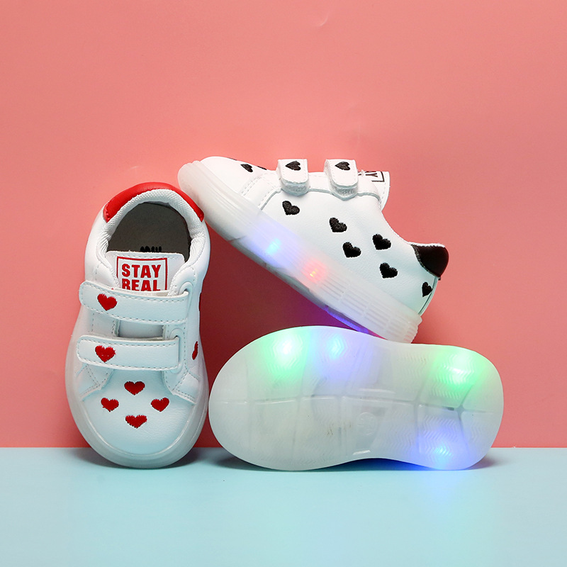 2020 Spring New LED Lighted Baby Girls Casual Shoes Bright Children's Shoes Toddler Girls Shoes Fashion White Sneakers