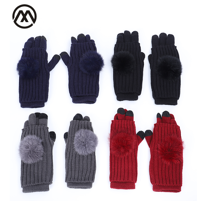 Pom-pom Ladies Winter Gloves Touch Screen Full Finger Half Finger Dual-use Knitting Gloves Double Detachable Long Gloves Ladies