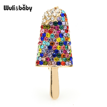 Wuli&baby Sparkling Popsicle Ice-sucker Icecream Brooches Women 3-color Party  Casual Brooch Pins Gifts