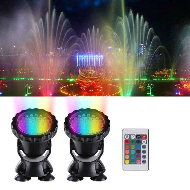 12V Submersible Pond Light Multi Color Aquarium Spotlight for Garden Fountain Fish Tank RGB LED Lighting with Remote Controller