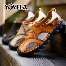 Soft Leather Summer Men Sandals Comfortable Casual Fashion Men Leather Sandals Men Roman Outdoor Beach Sandals Big Size 38-48(China)