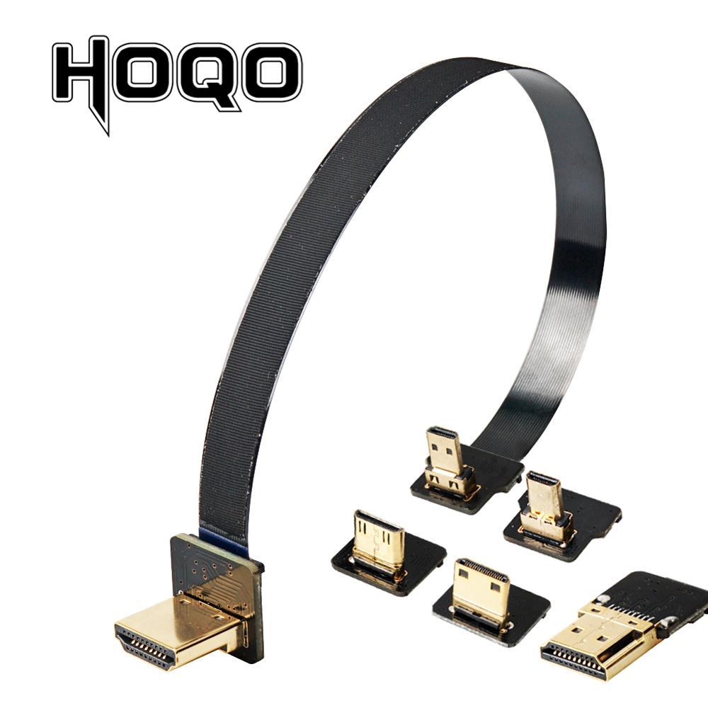 FPV HDMI Flat Ribbon Cable UP/Down Angle Micro HDMI To HDMI 90 Degree Flexible Hdmi Ribbon Cable Pin 20pin Plug HDMI Raspberry 4
