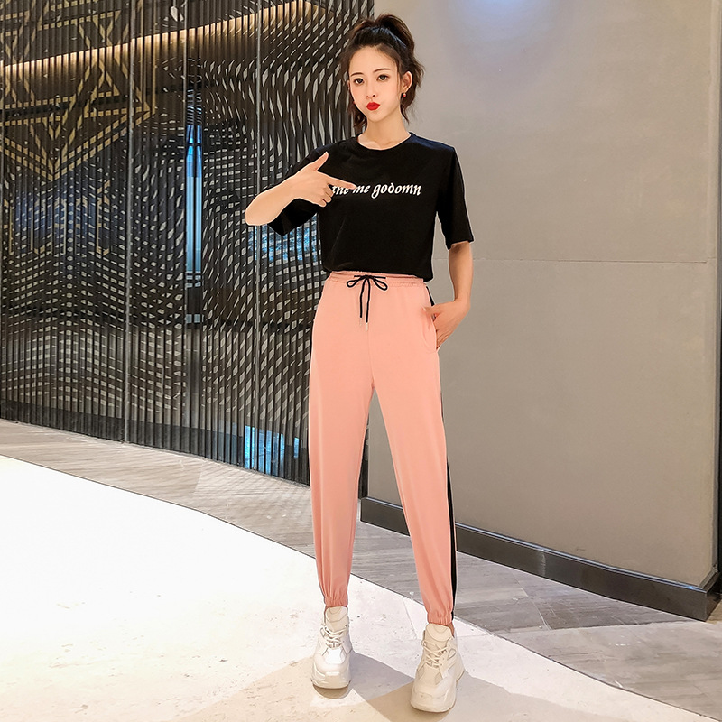 2019 Summer Wear New Style Korean-style Lettered Short Sleeve T-shirt + High-waisted Beam Leg Athletic Pants WOMEN'S Suit Casual