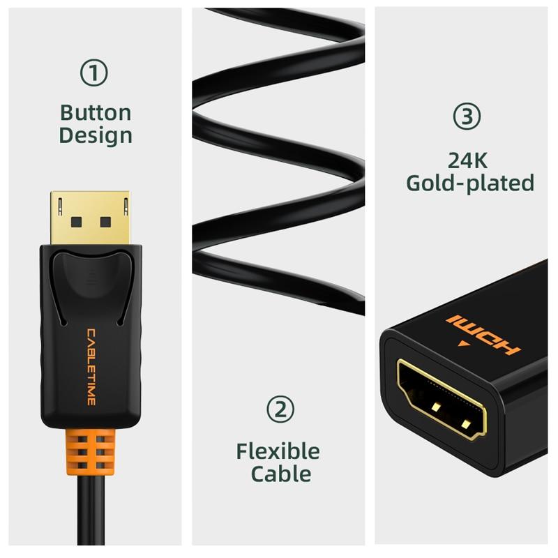 Cabletime Dp Naar Hdmi-Compatibel M/F Converter 4K/2K Display Port Naar Hdmi-compatibel Adapter Displayport Hdmi 4Kfor Macbook N007 4