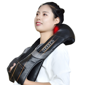 Electric Neck Roller Massager for Back Pain Shiatsu Infrared Lamp Massage Pillow GuaSha Products Body Health Care Relaxation