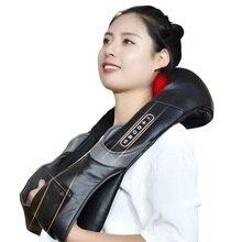 Elektryczny masażer szyi do bólu pleców Shiatsu lampa podczerwień poduszka do masażu produkty GuaSha pielęgnacja ciała relaks