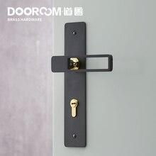 Dooroom ensemble de verrouillage de porte en laiton Ultra fin, poignée intérieure, noir et or, pour chambre à coucher, salle de bains, ensemble de serrure en bois, plaque longue