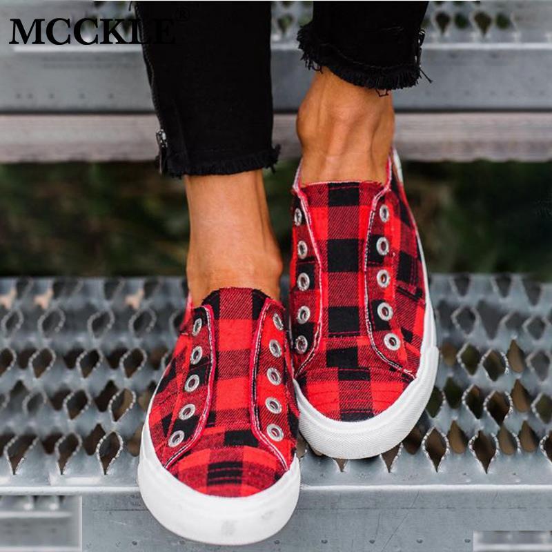 MCCKLE 2020 Spring Women's Vulcanized Shoes Women Sneakers Casual Comfort Flats Plaid Woman Fashion Slip On Flat Platform Ladies