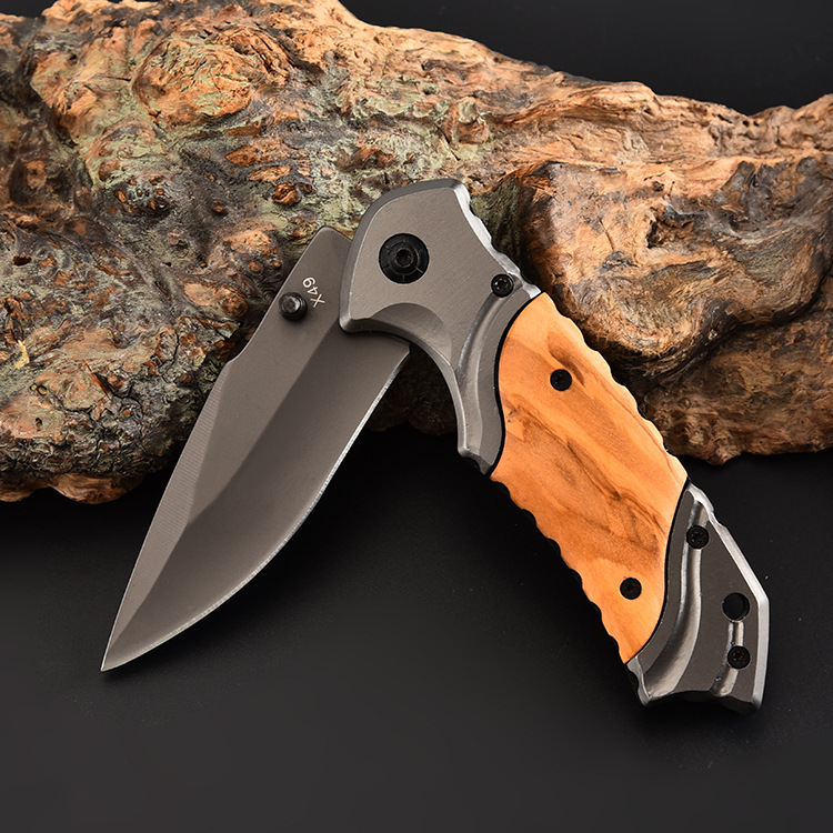 Brand Tactical Folding Knife 440C Steel Blade Pocket Hunting Camping Knife Survival Outdoor Tool Wood Handle knife High Quality image