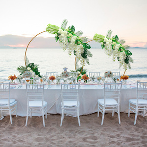 Image 3 - Homemade creative wedding arch with decor flower row DIY orchid turtle leaf rose peonies table flower garland flower arrangement