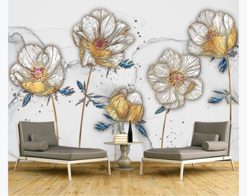 Custom 3D photo wallpaper mural color carving enamel golden lily TV background wall