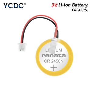 New Genuine CR2450 CR2450N battery with solder pin plug wire bonders CR 2450 3V For AFPX-BATT FP-X Series PLC Batteries(China)