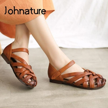 Johnature Genuine Leather Handmade Weave Sandals Women Shoes Retro Hook & Loop Flat With Sewing Casual Concise Ladies Sandals