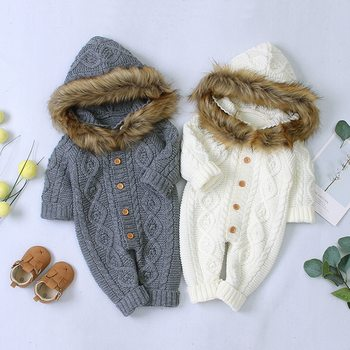 0-24M Infant Clothing Winter Overall Baby Boy Girl Clothes Fur Hooded Knit Jumpsuit Newborn Baby Clothes Autumn Baby Rompers baby knitted clothes baby girls rompers jumpsuit boy newborn infant baby sleeveless outfits clothes cute overall