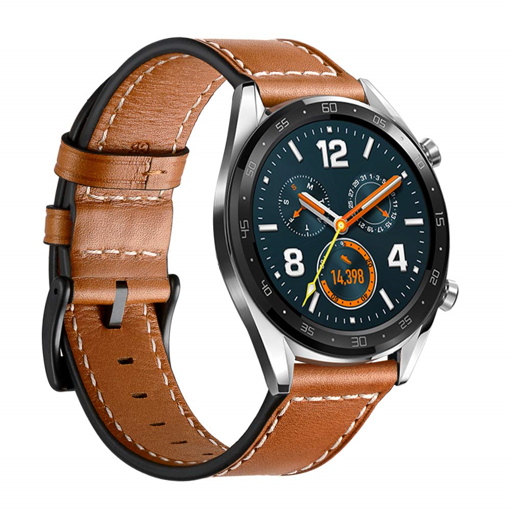 Leather Watch Bands For Huawei Watch GT2 46mm/GT Band 22mm Wristband Strap For Samsung Galaxy Watch 46mm 42mm Wrist Bracelet