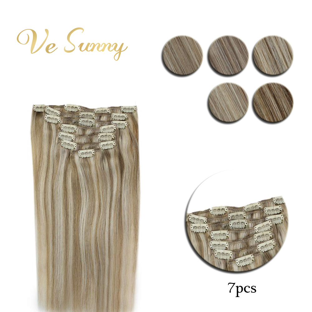 VeSunny Clip In Hair Extensions Machine Made Remy Human Hair 7pcs Double Weft Clip On Extensions Highlighted Color
