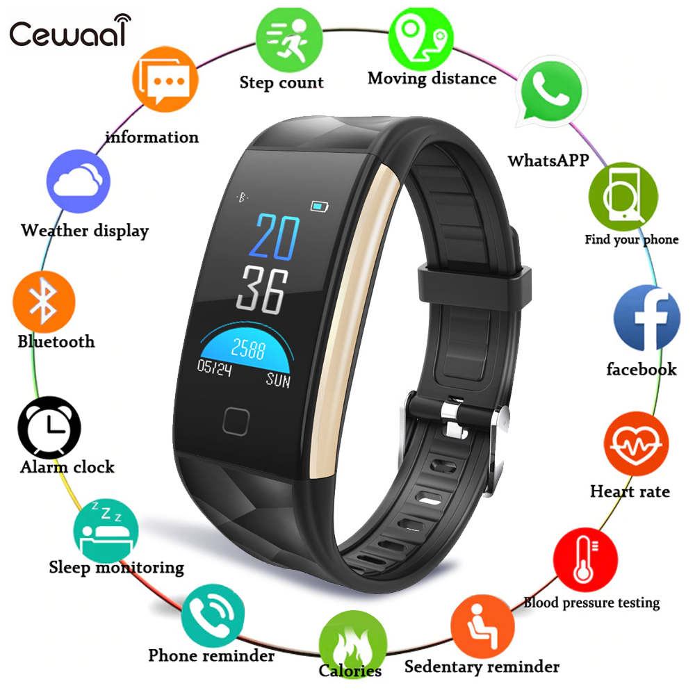 T20 Smart Gelang Smartwatch dengan Tekanan Darah Heart Rate Monitor Sport Aktivitas Tracker Kebugaran Smart Band untuk iPhone Xiaomi