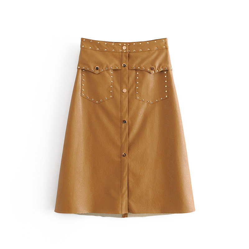 Vintage A-Line Solid PU Leather Skirt High Waist Rivet Fashion Skirts Knee Length Pockets Button Stylish Faldas Mujer Moda 2019