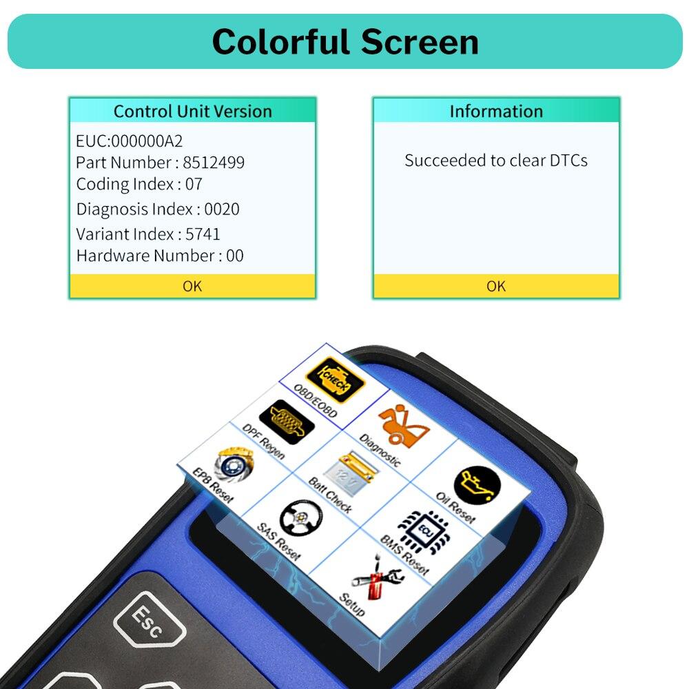 Deelife skaner OBD2 narzędzie diagnostyczne silnik poduszka powietrzna ABS SRS hamulec akumulatora oleju Reset OBD 2 czytnik kodów (dla MINI/BMW)