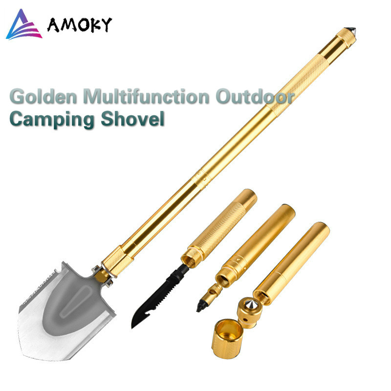 AMKOY Golden Max 94cm Outdoor Tactical Camping Shovel Multitool Folding Shovel Lifter Mounted Outdoor Emergency Camping Tool