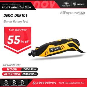 Image 1 - DEKO DKRT01 220V zmienna prędkość Mini młynek wiertarka elektryczna polerowanie wiercenie obrotowe narzędzie z akcesoria Dremel