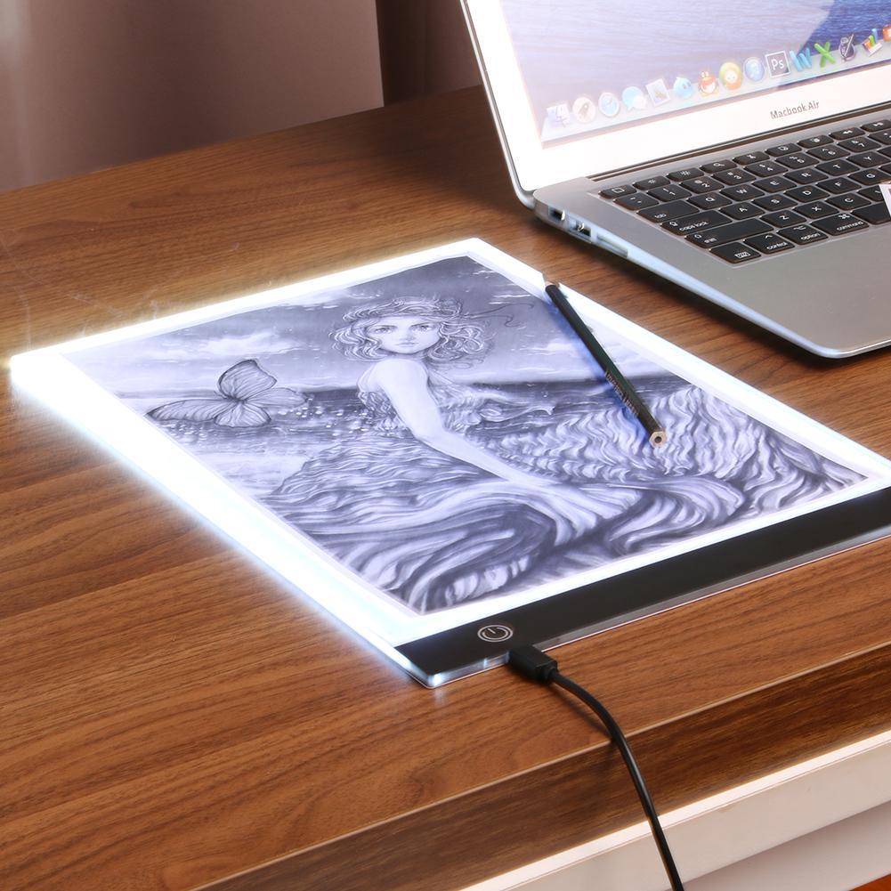 A4 gráficos digitais tablet led desenho arte fina estêncil desenho placa de luz caixa de rastreamento cópia almofada stepless escurecimento presentes