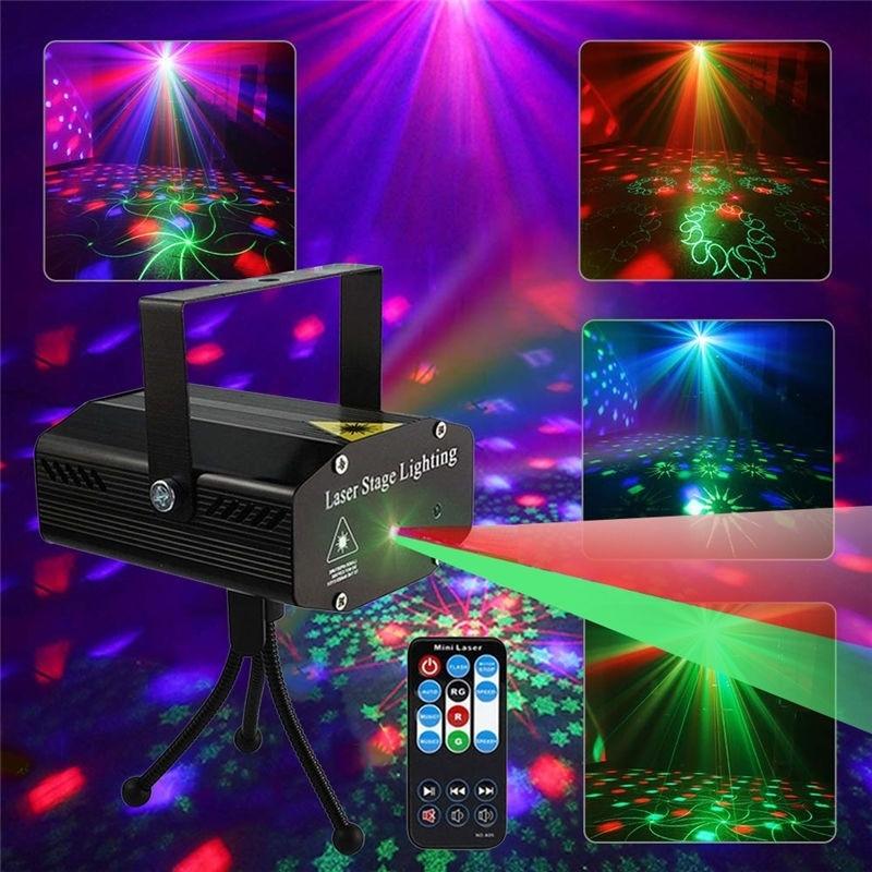 2pcs Xmas Stage Lights LED Laser Projector Disco Light Mini Auto Flash Laser Lamp Remote DJ Party Lamps Christmas Decoration