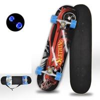 Skateboard Longboard Pulley Wheel Double Snubby Wood Skateboard Roller Board Flashing Roller Four Wheel Skate Board Kid Scooter