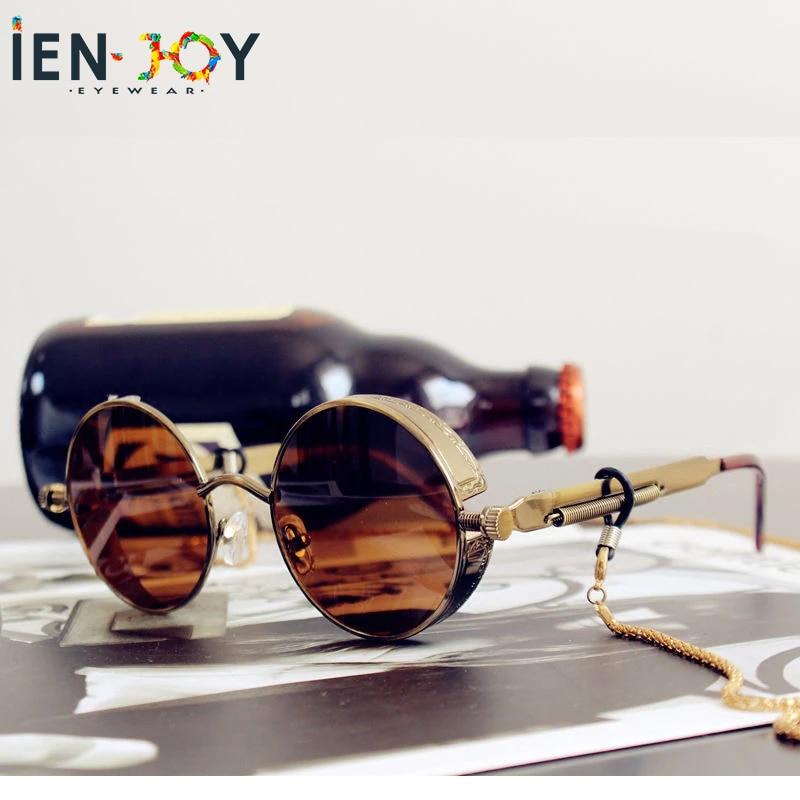 IENJOY High Quality Classic Steampunk Sunglasses Men Women Retro Gothic Round Male's Glasses Fashion Metal Driving Goggle UV400