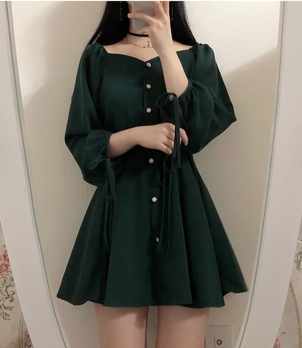 Image 5 - A Line Dresses Women Fashion Korea Japan Style Design Cute Sweet Little Back Dress Party Mini Button Vintage Dress Tunic 9310Dresses   -