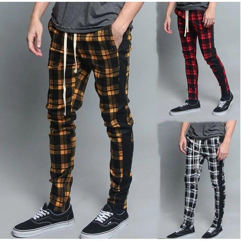 Man Pants Men's Long Casual Sport Pants Slim Fit Plaid Trousers Running Joggers Sweatpants Men's High Quality Brand Men Pants
