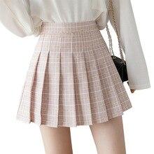 Summer Women Skirts 2020 New Korean High Waist Plaid Mini Skirt Women School Girls Sexy Cute Pleated Skirt with Zipper