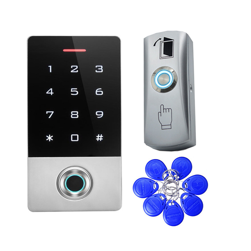 Waterproof Metal Fingerprint Access Control Standalone Single Door Controller Standalone Keypad Finger RFID Tags Exit Button