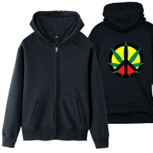 Hemp Peace Sign Jamaica Reggae Regge Rasta Leaf Red Yellow Green Man Boy Coat Full Zip Hoodie Fleece Hooded Jacket ZIIART