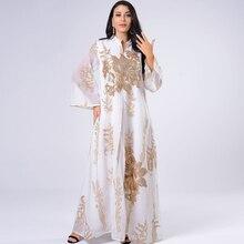 AB056 Maxi Dress Golden Sequins Embroidery Gauze White Abaya Woman Muslim Female Jalabiya Arabic Elegant Clothing  Long Sleeves