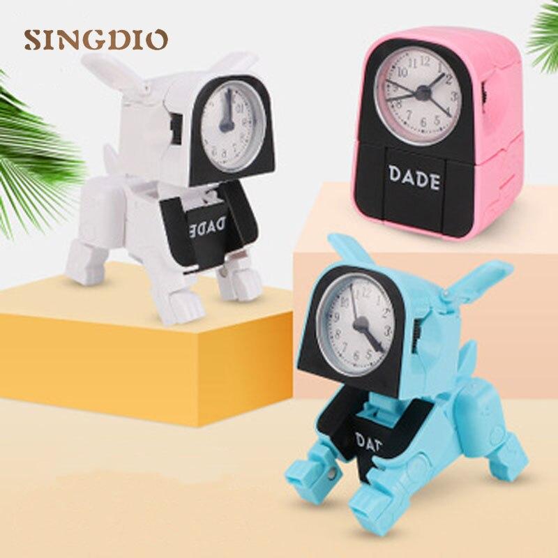 Animals Mini Little Puppy Robotic Dog Cute Deformation Robot Pet Dog Small Clock Creative Children's Toy For Birthday Gift